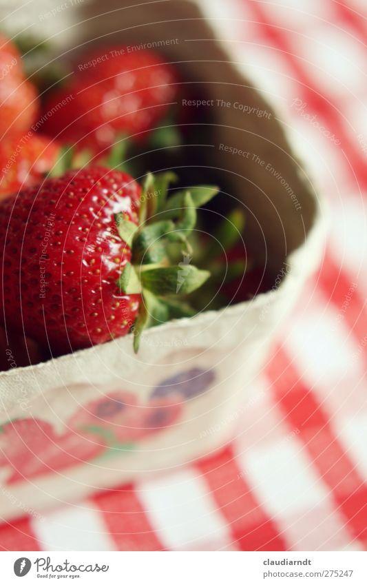 Mjam! Frucht Erdbeeren Ernährung Bioprodukte Vegetarische Ernährung Schalen & Schüsseln frisch Gesundheit lecker saftig rot kariert Tischwäsche aromatisch