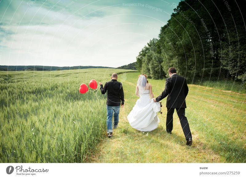 Making of ... Glück Sommer Hochzeit Mensch maskulin feminin Frau Erwachsene Mann Jugendliche 3 18-30 Jahre Natur Landschaft Himmel Schönes Wetter Feld