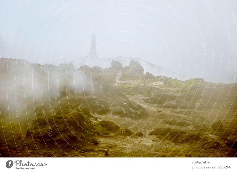 Island Umwelt Natur Landschaft Urelemente Erde Nebel Felsen Vulkan Küste Leuchtturm Rauchen außergewöhnlich bedrohlich dunkel heiß natürlich Wärme wild Stimmung