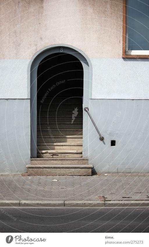 Schöne Aussicht, FfM alt Erholung Haus dunkel Fenster Wand Straße Architektur Wege & Pfade Mauer Fassade Treppe authentisch Romantik Schutz Sicherheit