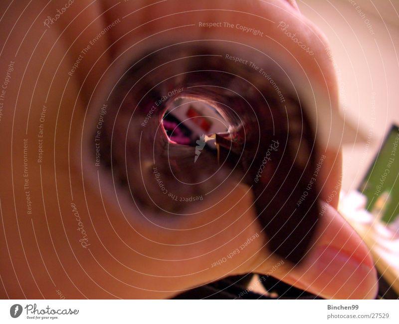 Durchblick Hand Finger Handzettel Tunnelblick