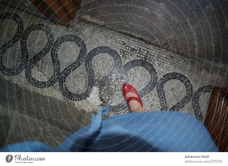 Roter Schuh elegant Stil feminin Junge Frau Jugendliche Fuß 1 Mensch 18-30 Jahre Erwachsene Fußmatte Fußgänger Kleid Stoff Leder Schuhe Damenschuhe