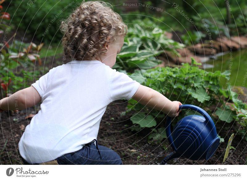 Blumenkind Mensch Kind Natur blau weiß grün Pflanze Junge Haare & Frisuren Garten blond Kindheit Zukunft T-Shirt Kunststoff Spielzeug