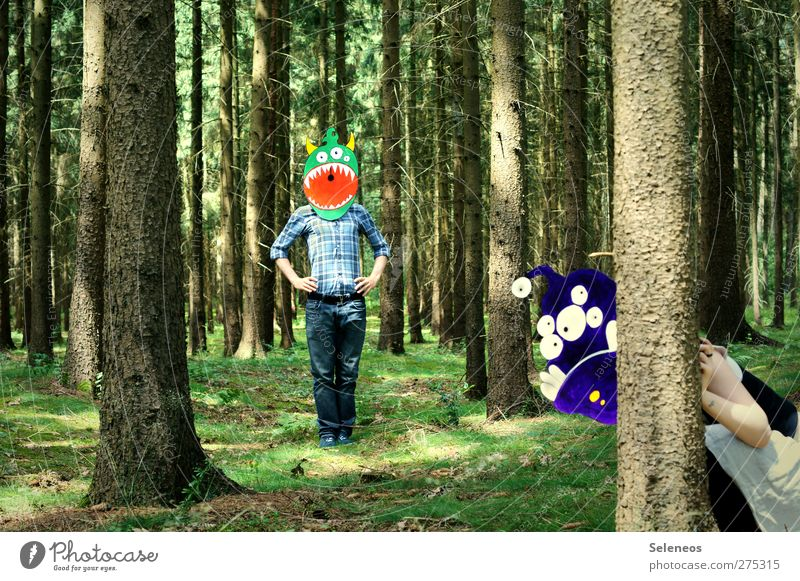 von wegen Monokultur Mensch Natur Baum Sommer Pflanze Freude Wald Umwelt Spielen Gras lustig verrückt Fröhlichkeit Bekleidung Schönes Wetter Neugier