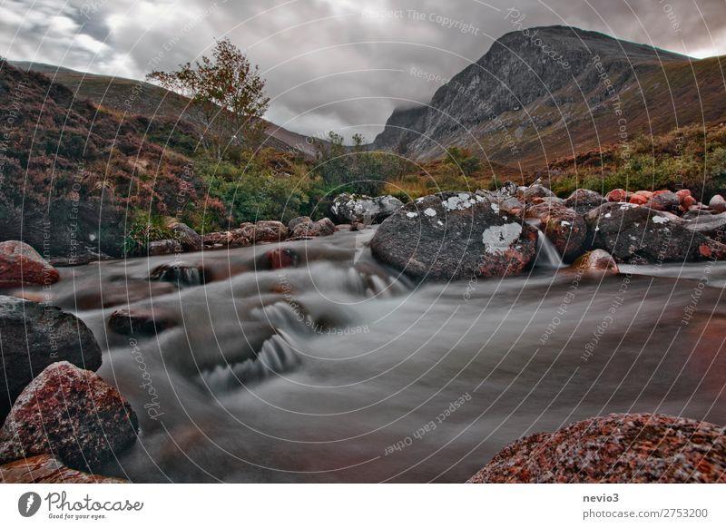 Auf dem Weg zum Ben Nevis in Schottland Landschaft Hügel Felsen Berge u. Gebirge Bach Fluss Wasserfall natürlich grau grün Großbritannien