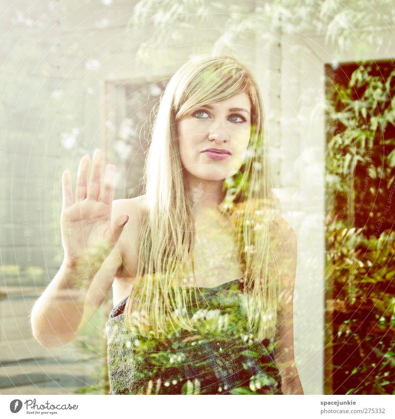 Behind the window Mensch Jugendliche Pflanze Erwachsene gelb feminin Junge Frau blond 18-30 Jahre leuchten beobachten berühren dünn langhaarig Scheibe Handtuch