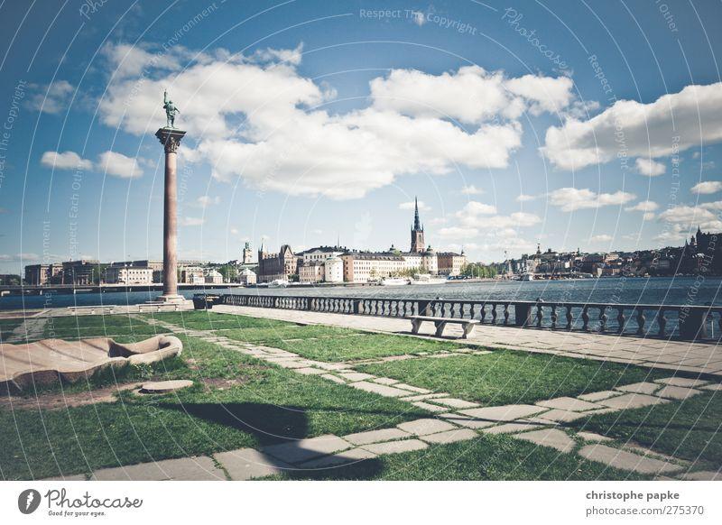 Colorful Stockholm Wolken Frühling Sommer Schönes Wetter Park Küste Stadt Hauptstadt Stadtrand Menschenleer Platz Sehenswürdigkeit hell Ferien & Urlaub & Reisen