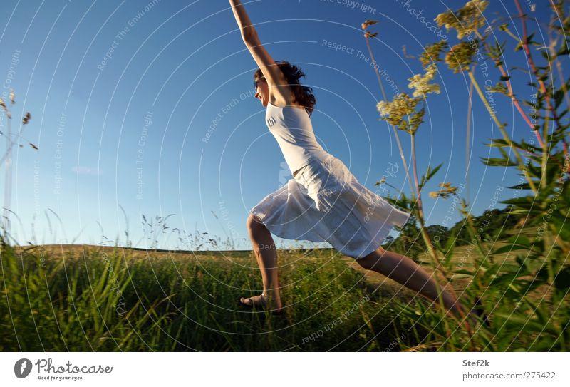 big jump Frau Natur blau Erwachsene Erholung feminin Leben Gras Bewegung springen Gesundheit frei Geschwindigkeit Wellness Fitness Unendlichkeit