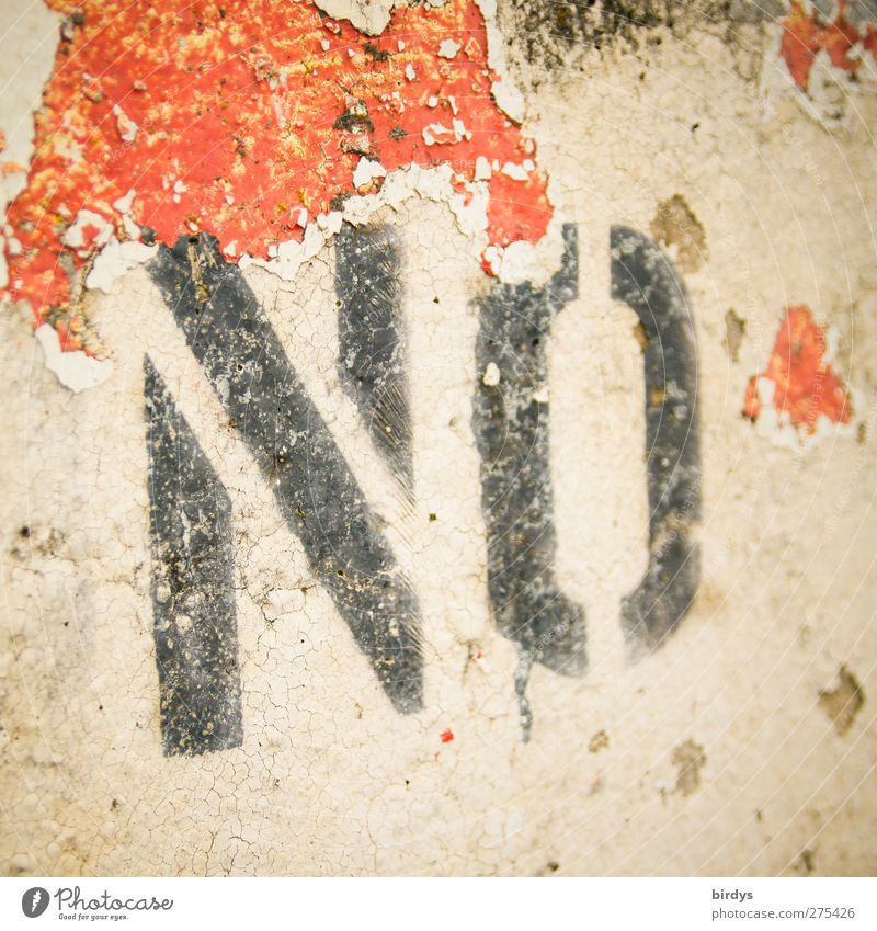 No ... rot schwarz Wand Mauer Schriftzeichen kaputt Verbote abblättern Farben und Lacke protestieren negativ rebellieren Verneinung