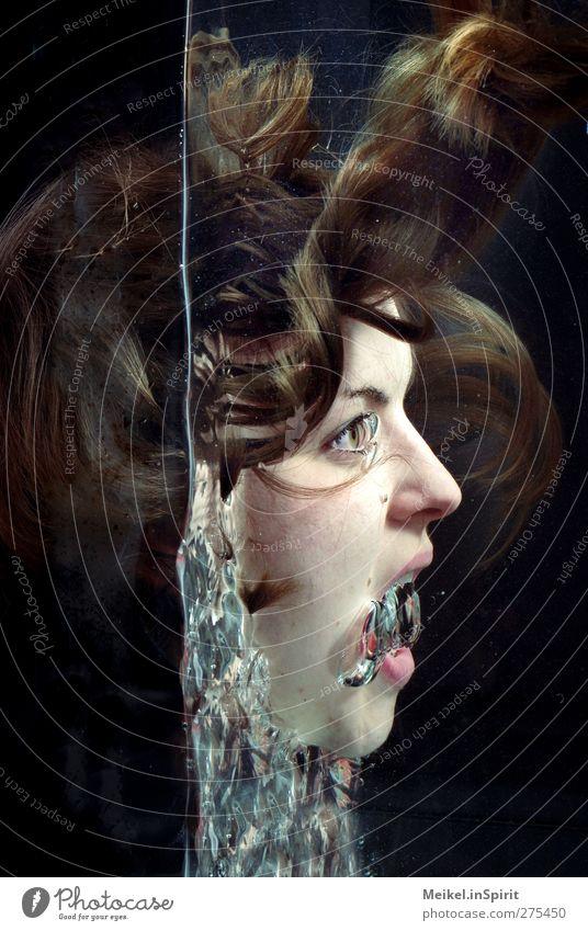 Erstaunen feminin Junge Frau Jugendliche Kopf Gesicht 1 Mensch 18-30 Jahre Erwachsene Gefühle Mut Überraschung träumen einzeln eine frau alleine Wasser