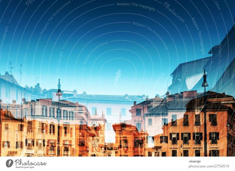 Rom Ferien & Urlaub & Reisen Haus Tourismus historisch Städtereise Wolkenloser Himmel Stadtzentrum Doppelbelichtung