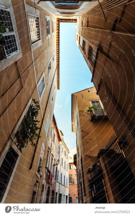 Gasse Ferien & Urlaub & Reisen Tourismus Sommer Wolkenloser Himmel Schönes Wetter Rom Italien Altstadt Haus Gebäude Architektur alt historisch Stimmung
