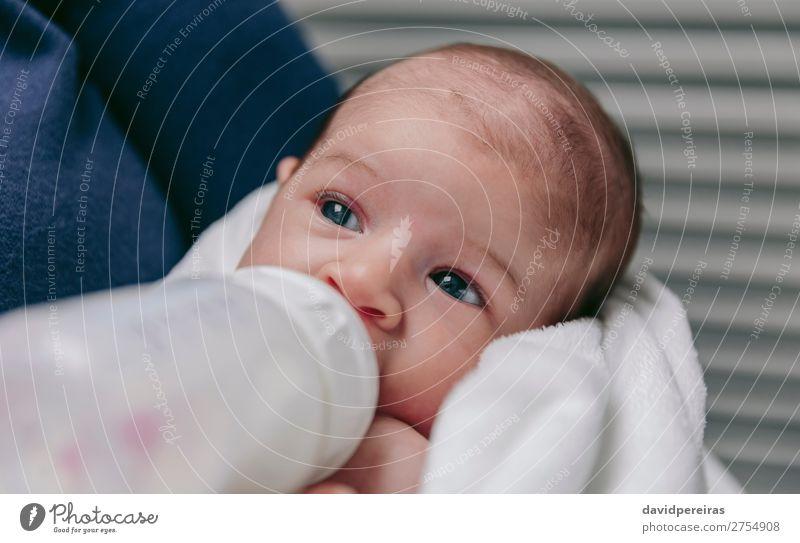 Baby nimmt eine Flasche zum Füttern Essen Lifestyle schön Gesicht Erholung Schlafzimmer Kind Mensch Frau Erwachsene Familie & Verwandtschaft Kindheit füttern