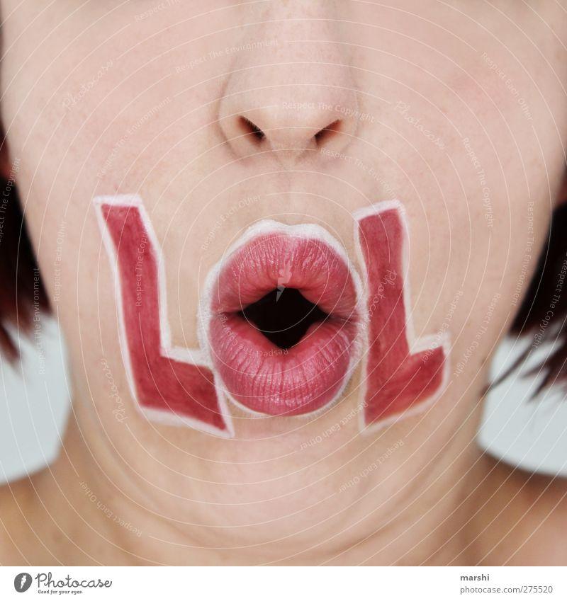 Laughing out Loud Stil Mensch feminin Junge Frau Jugendliche Erwachsene Haut Nase Mund Lippen 1 Gefühle Stimmung Freude Glück Fröhlichkeit lachen Buchstaben