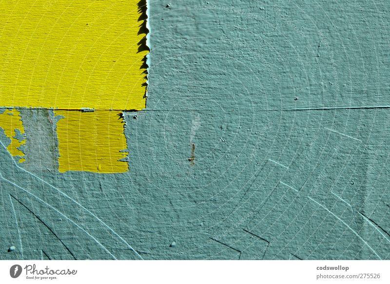enter the ninja Mauer Wand Fassade Schriftzeichen gelb grün Strukturen & Formen Farbfoto Außenaufnahme Detailaufnahme abstrakt Menschenleer Textfreiraum rechts
