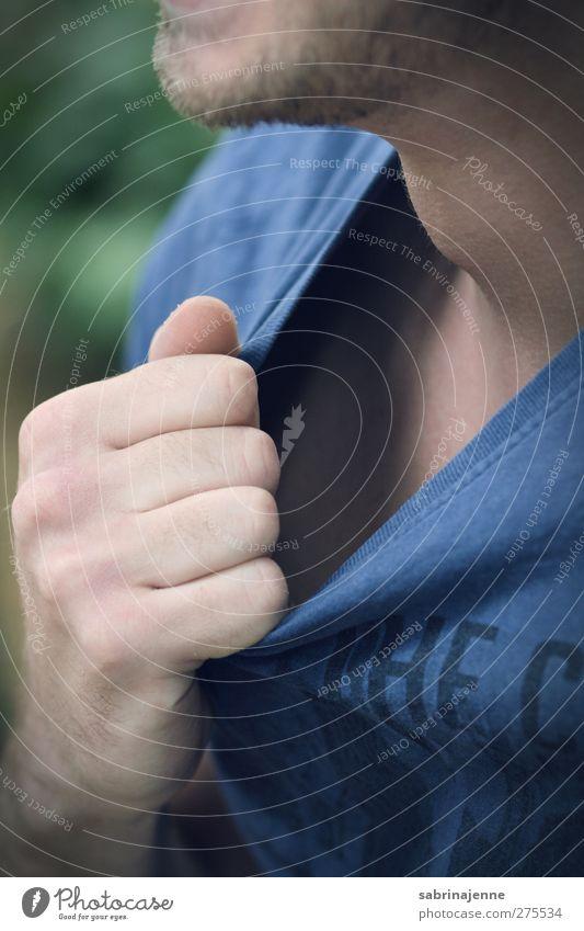 my platzt gleich the hemd Mensch maskulin Junger Mann Jugendliche 1 T-Shirt Vollbart Kraft Macht Tatkraft Leidenschaft Ärger Aggression Gewalt Hass Farbfoto