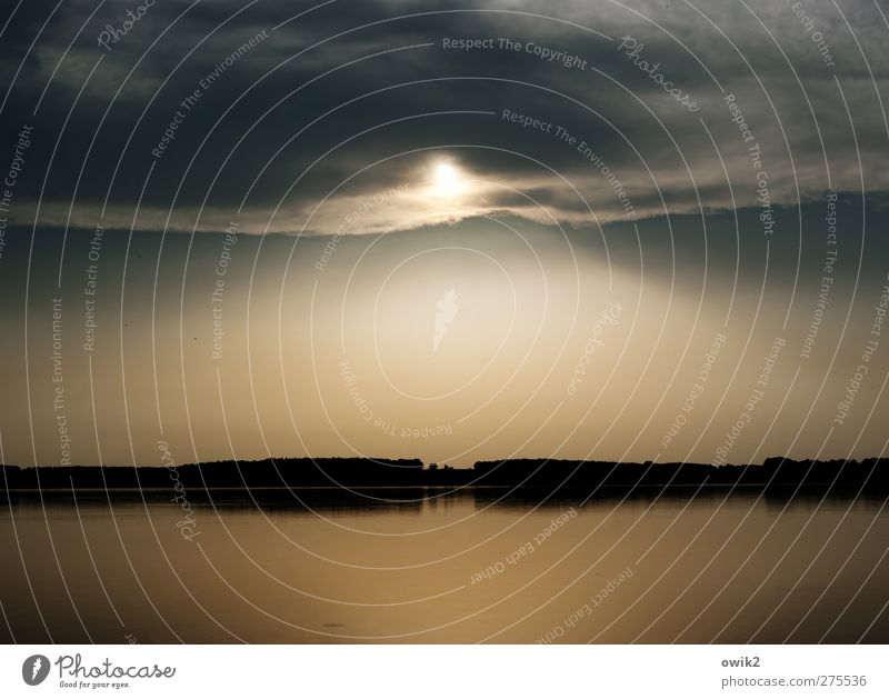 Abendlied Ferne Umwelt Natur Landschaft Wasser Himmel Wolken Horizont Sommer Klima Wetter Schönes Wetter Wärme See leuchten frei gigantisch glänzend