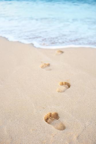Fußspuren ins Meer Glück Gesundheit Wellness harmonisch Wohlgefühl Spa Schwimmen & Baden Ferien & Urlaub & Reisen Tourismus Ferne Sommer Sommerurlaub Sonne