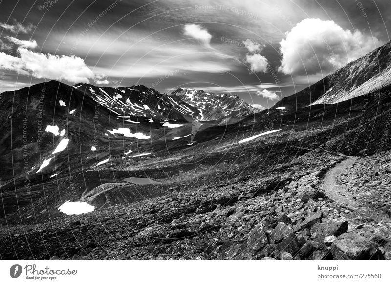 dieser Weg ist steinig und schwer Himmel Natur weiß Sommer Sonne Wolken schwarz Landschaft Umwelt Berge u. Gebirge Schnee Herbst Gras Wege & Pfade grau Luft