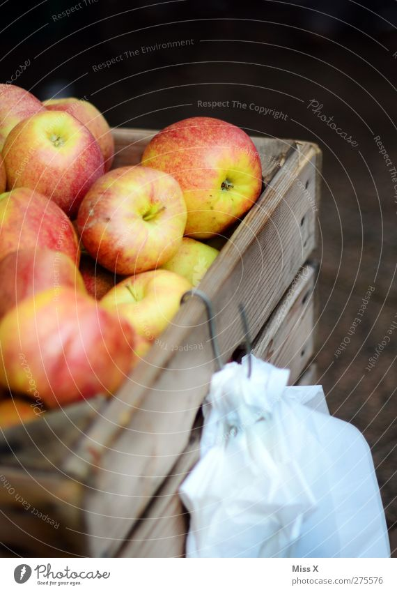 Apfelkiste Ernährung Lebensmittel Gesundheit Frucht frisch süß lecker Bioprodukte Vegetarische Ernährung Holzkiste Wochenmarkt Apfelernte Obstverkäufer