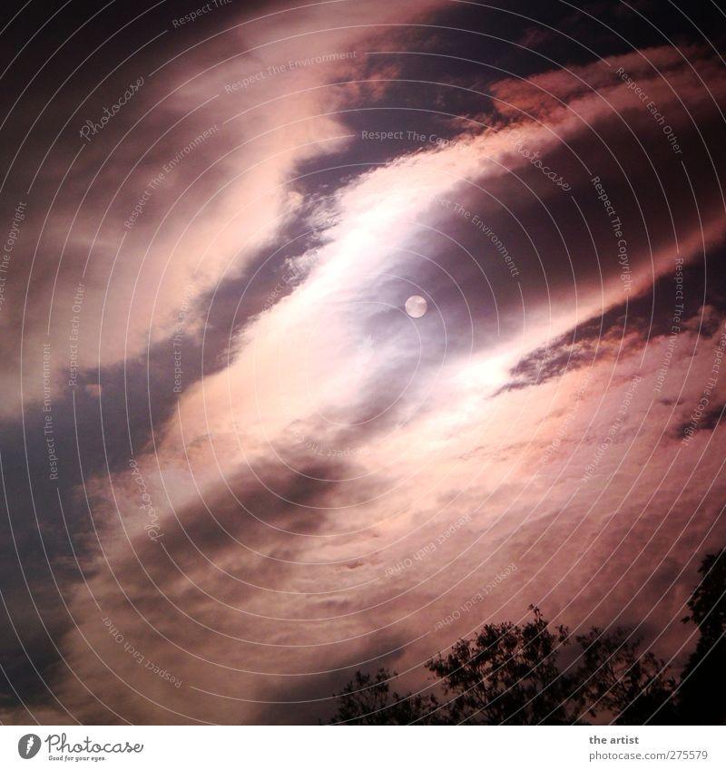 Mond oder Sonne?! Himmel blau weiß Wolken schwarz dunkel kalt träumen Stimmung Angst bedrohlich bizarr Surrealismus stagnierend