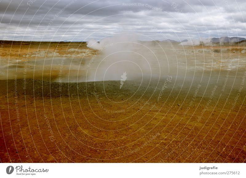 Island Umwelt Natur Landschaft Urelemente Himmel Wolken Klima Vulkan Rauchen außergewöhnlich bedrohlich heiß natürlich Wärme wild Farbfoto Außenaufnahme