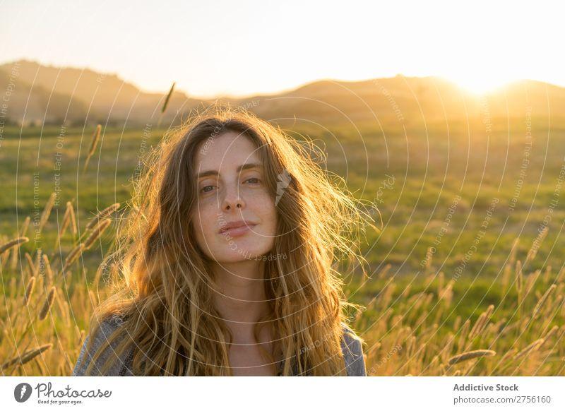 Selbstbewusste Frau im Sommerfeld Porträt Körperhaltung Landschaft Natur schön Farbe Wiese Außenaufnahme Länder ländlich Freiheit Ferien & Urlaub & Reisen