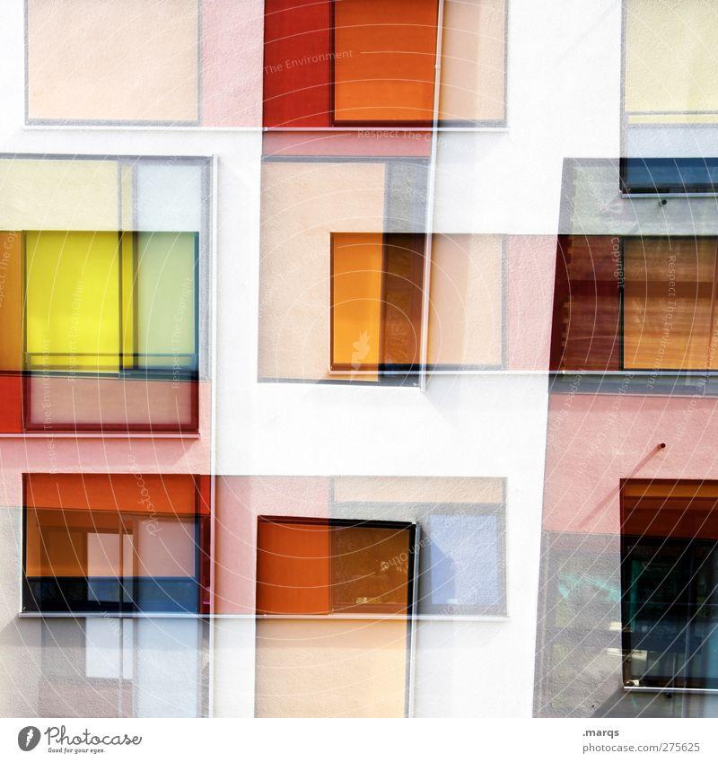 Verschachtelt Farbe Stil Kunst Hintergrundbild außergewöhnlich Fassade elegant Design modern verrückt Perspektive Lifestyle einzigartig Grafik u. Illustration chaotisch trendy