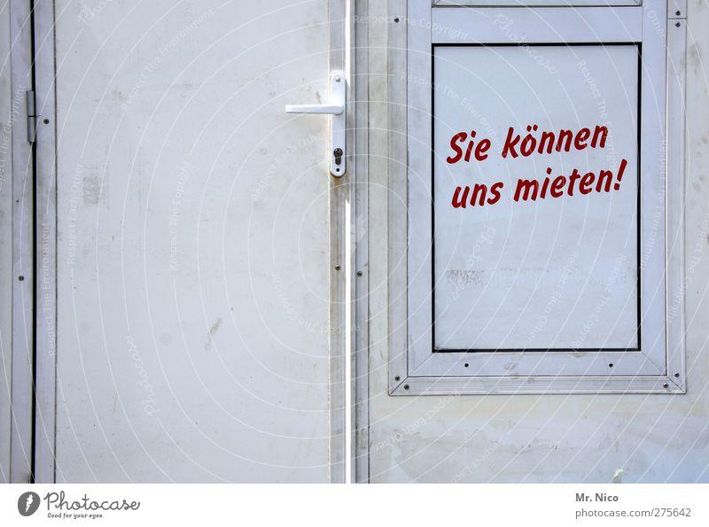 nachmieter gesucht ! Fassade dreckig Billig rot weiß Miete vermieten leasen Tür Griff Eingang Ausgang Typographie Schilder & Markierungen Verkaufswagen