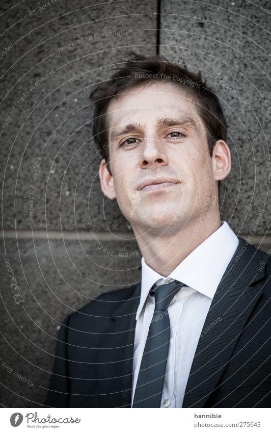 . Mensch maskulin Mann Erwachsene 1 30-45 Jahre Anzug brünett kurzhaarig Blick Coolness seriös Langeweile Hochmut Krawatte Büroarbeit Farbfoto Gedeckte Farben