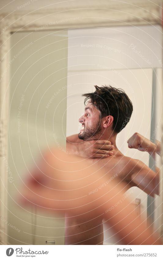 Schon mal dem äußeren Schweinehund begegnet? Mensch Mann Jugendliche Erwachsene Sport nackt Junger Mann Kraft 18-30 Jahre maskulin verrückt bedrohlich Fitness
