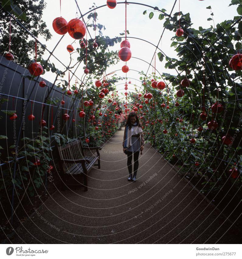 Kensington. Mensch feminin Junge Frau Jugendliche 1 Umwelt Wetter schlechtes Wetter Pflanze Garten Park dunkel authentisch Stimmung Traurigkeit Müdigkeit