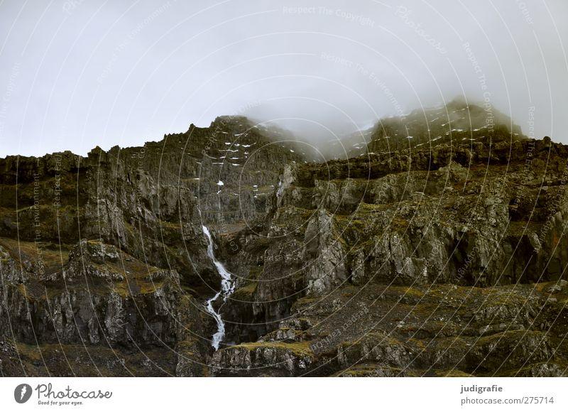 Island Umwelt Natur Landschaft Himmel Wolken Klima Wetter Felsen Berge u. Gebirge Wasserfall bedrohlich dunkel kalt natürlich wild Stimmung Farbfoto