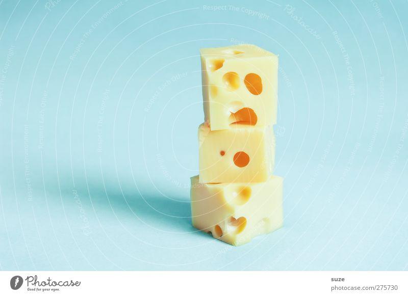 Sach ma cheese! blau gelb lustig Ernährung Lebensmittel Kreativität Idee Teile u. Stücke lecker Loch Bioprodukte frech Humor Stapel Würfel Käse