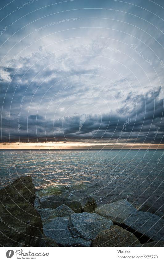 Hiddensee | ... the rock Umwelt Natur Landschaft Urelemente Erde Wasser Himmel Wolken Sonnenaufgang Sonnenuntergang Wetter Küste Ostsee Meer bedrohlich