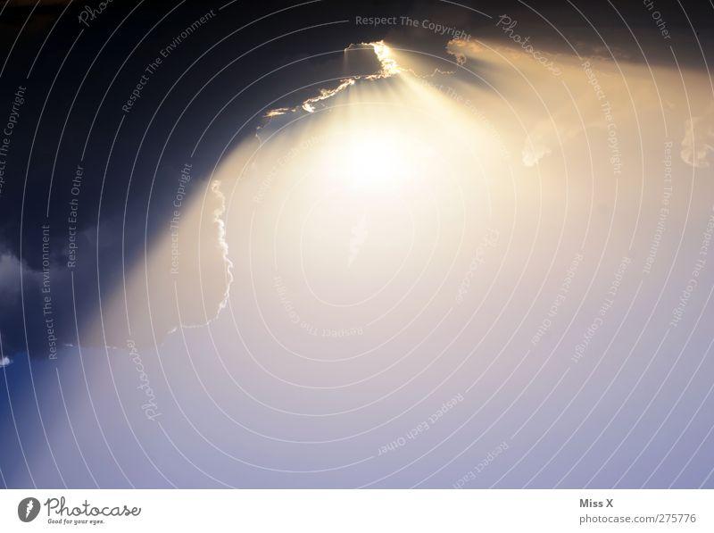 Aufbruch Himmel Wolken Gewitterwolken Klima Wetter Unwetter hell Farbfoto Außenaufnahme Menschenleer Textfreiraum unten Morgendämmerung Sonnenlicht