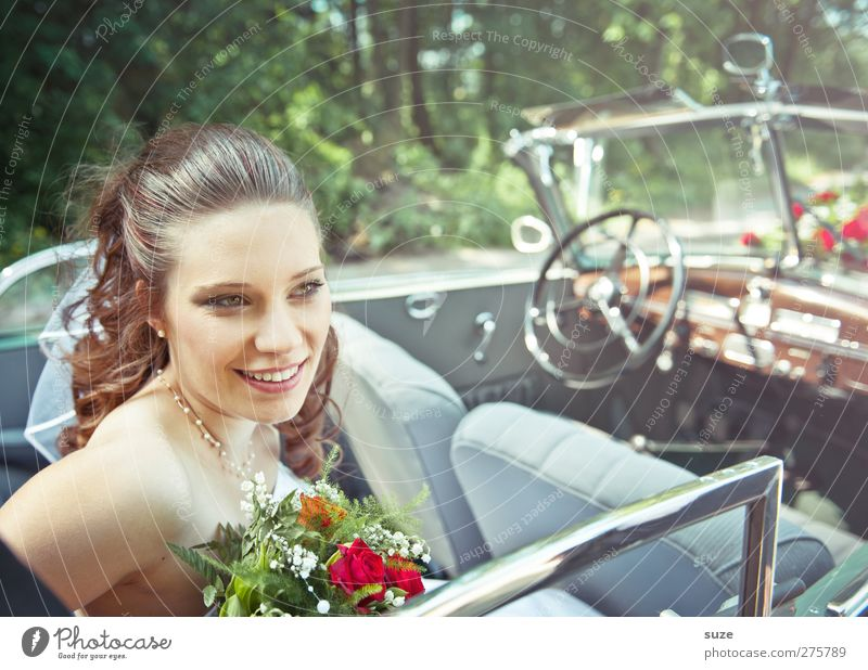 Fahrt ins Glück Mensch Frau Natur Jugendliche Sommer Freude Erwachsene Gesicht Umwelt feminin Haare & Frisuren Junge Frau lachen Kopf Autofenster
