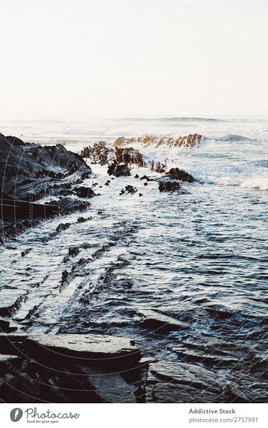 Küstenlandschaft Klippe Meer Felsen Ferien & Urlaub & Reisen Tourismus Natur Landschaft Wasser Sonne Freiheit Stein natürlich Lifestyle schön Aussicht Mensch