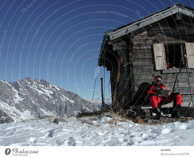 Pause Schnee Skifahren Schweiz Hütte Wintersport