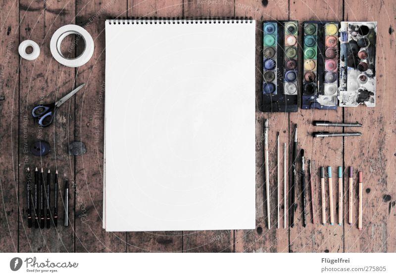 Photoshop analog Basteln zeichnen Papier Zeichenblock Pinsel Farbkasten Klebeband malen Schere Parkett Bodenbelag Bleistift Design Studium