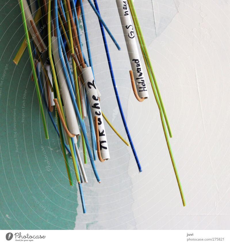 Kabelfitz blau weiß grün schwarz gelb grau Linie braun Energiewirtschaft Schilder & Markierungen Schriftzeichen Netzwerk Technik & Technologie Beschriftung
