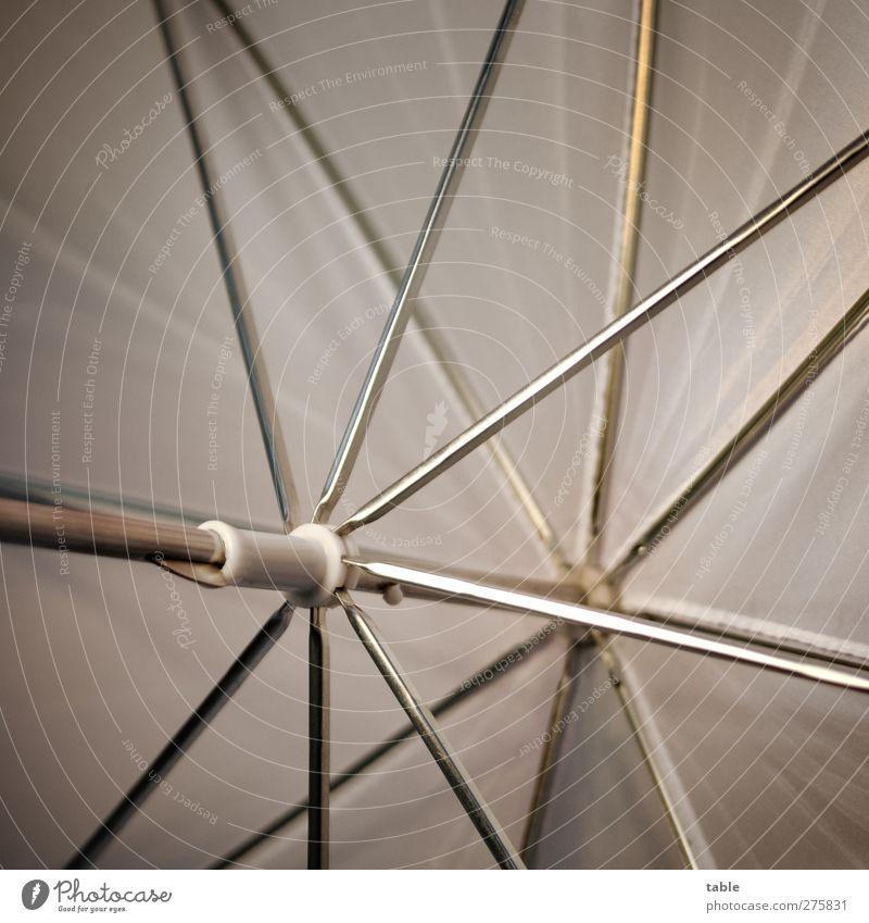 Rettungsschirm . . . weiß grau Metall hell Beleuchtung offen glänzend Design ästhetisch leuchten Netzwerk einzigartig Sauberkeit Kreativität Kunststoff