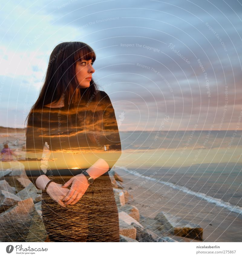 Hiddensee   Das Meer in Uns Mensch Himmel Jugendliche Wasser Ferien & Urlaub & Reisen schön Meer Strand Erwachsene feminin Junge Frau Horizont Wetter Kraft 18-30 Jahre Erfolg