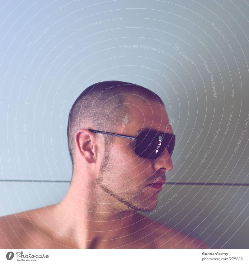 Selbstbildnis Mensch schön schwarz Erwachsene Gesicht kalt nackt Mode Linie Kraft Glas maskulin modern Coolness beobachten retro