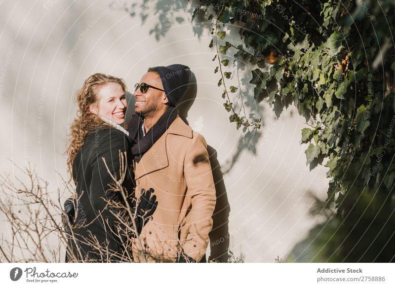 Fröhliches multiethnisches Paar an der Wand heiter Liebe Mensch Glück Zusammensein Partnerschaft Jugendliche warme Kleidung Sträucher grün Fröhlichkeit Romantik