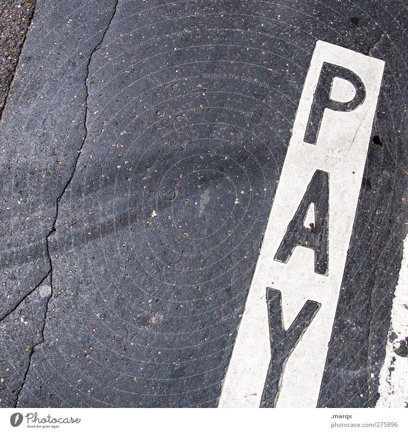 Payout Straße Asphalt Schriftzeichen Schilder & Markierungen bezahlen einfach schwarz weiß Wandel & Veränderung Parkplatz Straßenverkehrsordnung Farbfoto