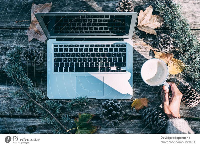 Computer auf einem Holztisch mit Kaffee und Kiefern im Freien Weihnachten & Advent Notebook Technik & Technologie Arbeit & Erwerbstätigkeit Hand Arme beobachten