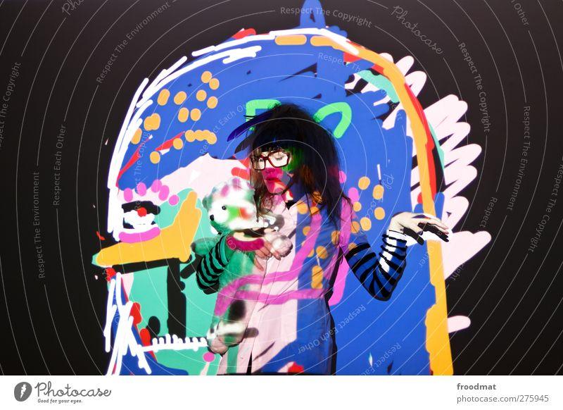 farbenspiel Mensch Frau Jugendliche Erwachsene feminin Junge Frau Stil Kunst außergewöhnlich Design verrückt ästhetisch Lifestyle einzigartig Kreativität trashig