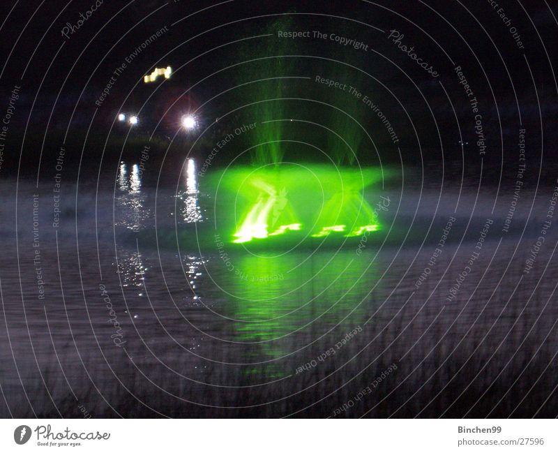 Wasserspiele Teich See Bach grün Abend dunkel Veranstaltung Planten un Blomen - Park