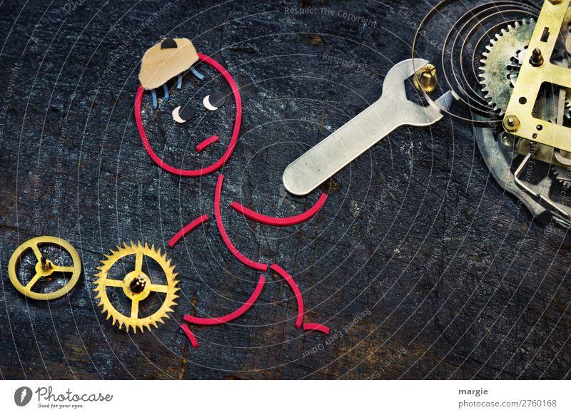 Gummiwürmer: Zeitumstellung Werkzeug Zeitmaschine Messinstrument Uhr Technik & Technologie Fortschritt Zukunft Mensch maskulin Mann Erwachsene 1 Mütze gold rot
